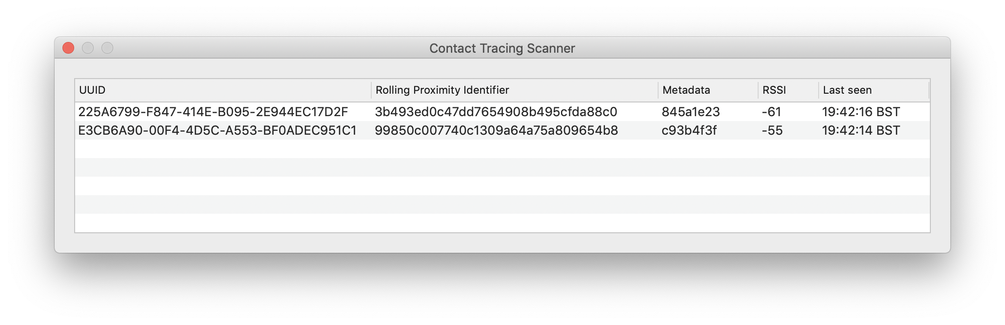 Contact Tracing Scanner using Swift for macOS